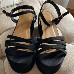 Bamboo suede strappy platforms